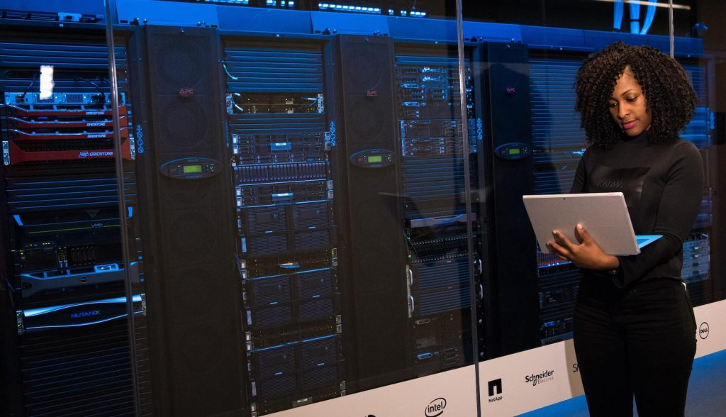 Woman securing data in the cloud